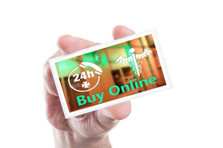 hand holding card: Hand holding card with online pharmacy open 247 concept