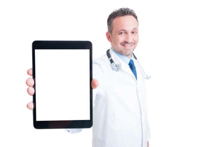 blank tablet: Doctor or medic showing tablet with blank screen as copy space and white advertising area