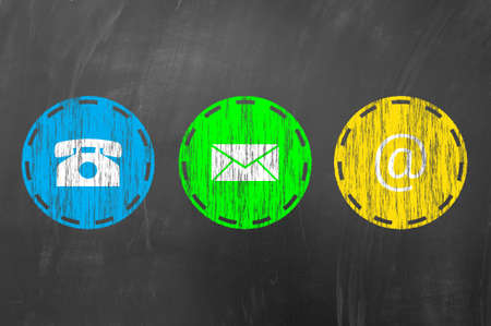connect: Contact us using email, address and phone concept on blackboard or school chalk board