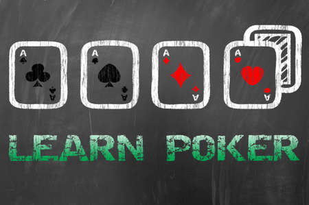 aces: Learn poker with four aces shape on school blackboard concept Stock Photo