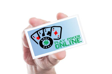 gambling: Hand holding play poker online card with four aces as internet gambling website concept Stock Photo