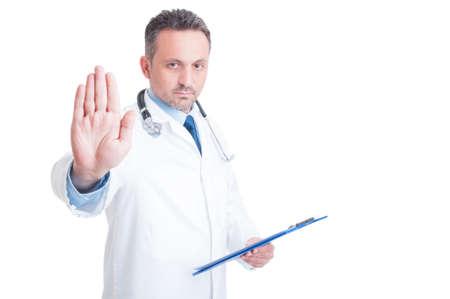 Arts of dokter making stop en verblijf gebaar te kijken naar de camera Stockfoto