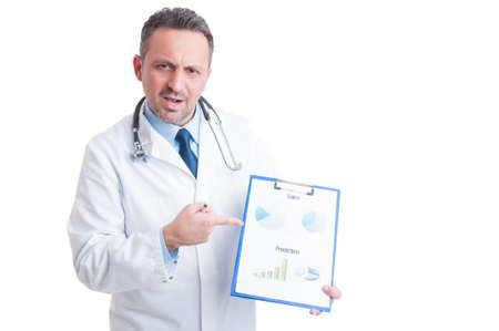 medic: Medic or doctor showing marketing charts   on clipboard