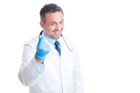 bribery: Medic or doctor asking for money and bribe gesture as bribery concept