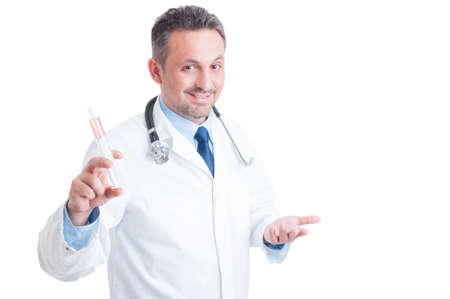 inviting: Encouraging doctor or medic holding syringe and inviting to vaccination concept isolated on white background