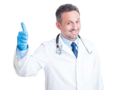 encouraging: Happy medic or doctor showing like as encouraging gesture concept