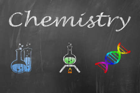 chemistry lesson: Chemistry lesson class on school blackboard or chalkboard concept