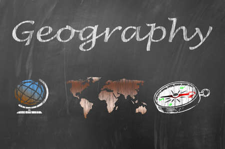 world class: Geography lesson class on school blackboard or chalkboard concept Stock Photo
