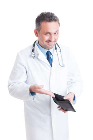 medicaid: Doctor or medic asking bribe by showing empty wallet concept isolated on white background Stock Photo