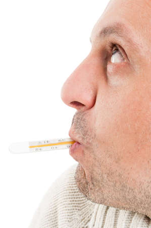 contagious: Side view of half face with thermometer in mouth isolated on white background Stock Photo
