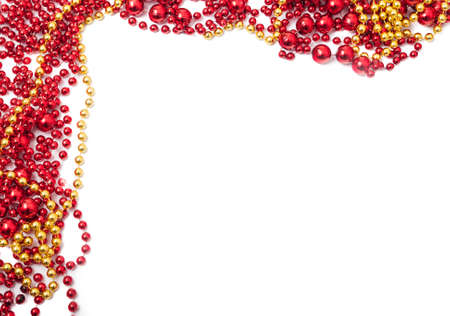christmas beads: Christmas beads frame with copy space for greeting or advertising concept