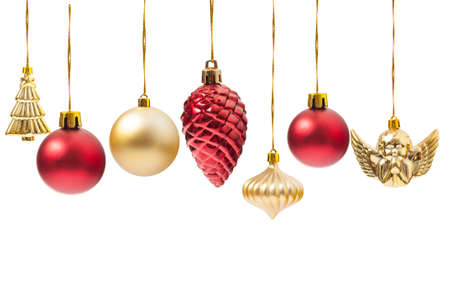christmas decorations with white background: Hanging Christmas globes or various decorations isolated on white background