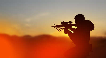 guerrilla: Army soldier silhouette in conflict zone concept at sunset