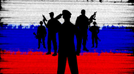 sergeant: Russian soldiers silhouette concept on flag background Stock Photo
