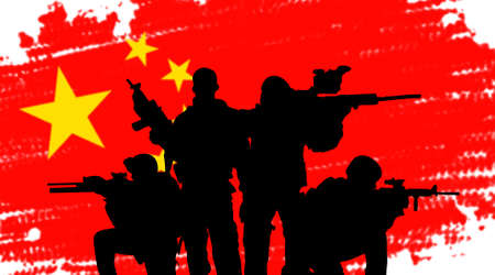 sergeant: Chinese army soldiers silhouette concept on flag background
