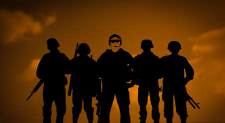 Mercenaries or private army concept with soldiers silhouettes on sunset background
