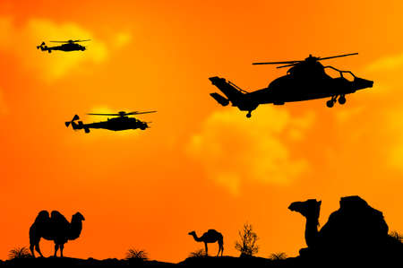 desert sunset: Helicopters or choppers silhouette on desert sunset background as terrorism concept