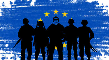 European Union army concept with soldiers silhouette on flag background