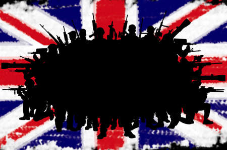 british army: Great Britain or british army concept silhouettes on flag background