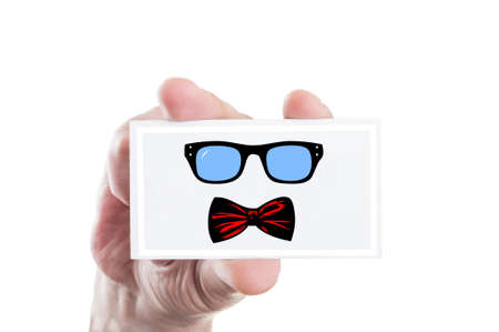 bowtie: Hand holding hipster eyeglasses and bowtie illustration draw on a card