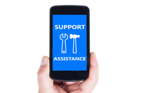 smarthone: Support and assistance concept on mobile device screen or smarthone display Stock Photo