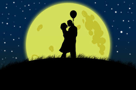 romance: Couple silhouette on moon light illustration as love and romance concept