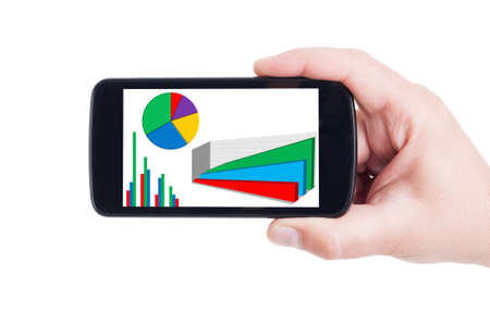 stock predictions: Financial graph on mobile device, smartphone or cellphone screen and display Stock Photo