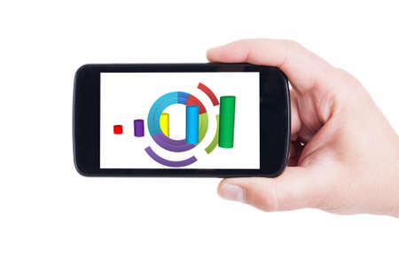 stock predictions: Colored charts on mobile device, smartphone or cellphone screen and display