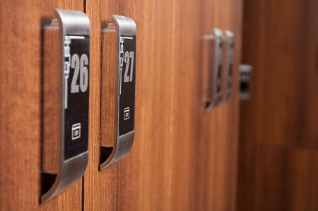 cardkey: Closeup of digital locker in modern changeroom with numbers in a spa or fitness club