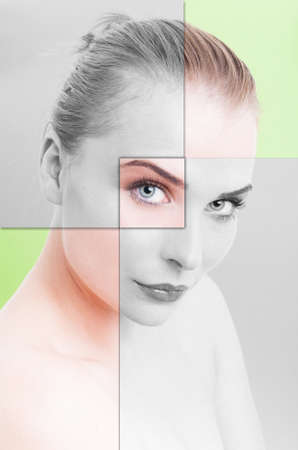 skintone: Collage portrait of woman perfect skin with filter applied against green background Stock Photo