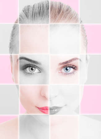 skintone: Closeup portrait of beautiful woman with collage and filter applied as skintone and facial treatment concept against pink or purple background Stock Photo