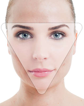 skintone: Retouched photo portrait of a woman with perfect skin as correction and anti-aging concept Stock Photo