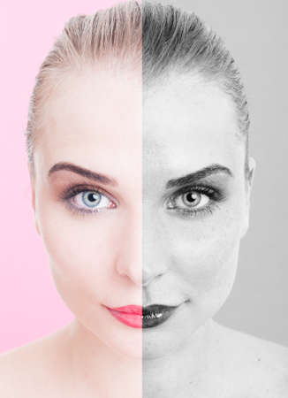 skintone: Beautiful woman portrait before and after retouch as skin care concept