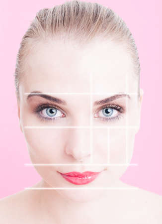 skintone: Close-up of beautiful woman face with makeup and divided lines as anti-aging and face lifting concept against pink or purple background