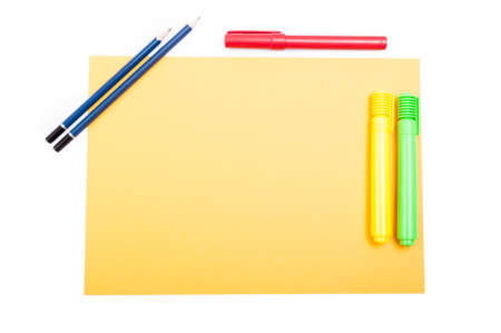 yellow notepad: Office supplies on yellow notepad on organized desktop with copy space as creative studio concept Stock Photo
