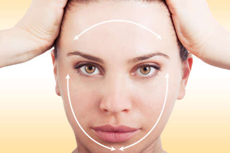 unblemished: Close-up picture of beautiful woman ready for cosmetic surgery against pink studio background Stock Photo