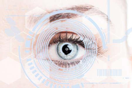 display retina: Close-up eye with digital retina protection as futuristic security system concept