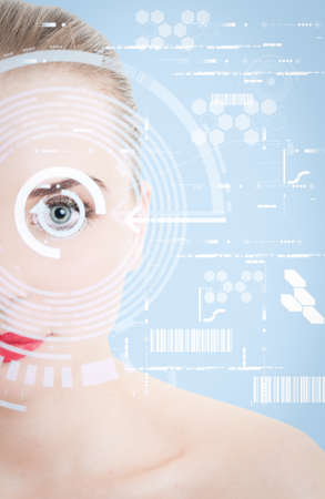 close up woman: Close up of woman eye with futuristic design as digital or virtual scanning concept Stock Photo