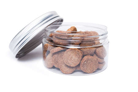 Transparent jar of cat or dog food isolated on white background