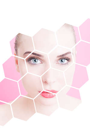 skintone: Portrait of beautiful flawless female with divided design against pink or purple background as freshness and facial correction concept