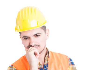 meditative: Closeup portrait of pensive or meditative engineer finding a solution on white studio background Stock Photo