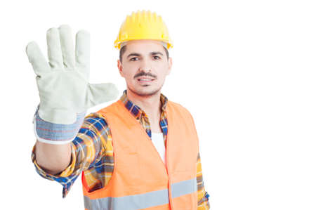number five: Cheerful builder showing number five or doing  high five gesture isolated on white with copy paste
