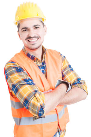 Smiling handsome constructor with folded arms looking cheerful and happy on white backgound