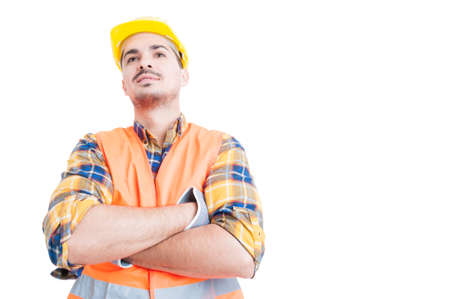 copy paste: Attractive smiling engineer standing with arms crossed and act confident with copy paste on white background Stock Photo