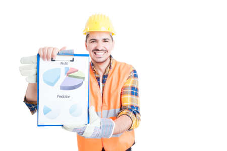 stock predictions: Cheerful smiling engineer with marketing financial chart in his hands wearing protection equipment isolated on white Stock Photo