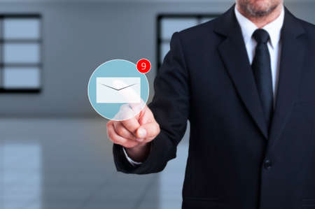 received: Digital inbox with received new messages concept as futuristic worldwide business comunications