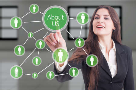 about us: About us concept with company people connections diagram on futuristic transparent touch screen Stock Photo