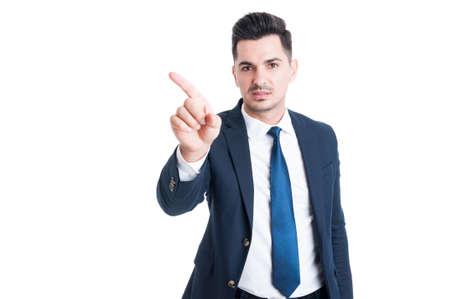 deny: Sales man making refuse or deny gesture isolated on white background Stock Photo