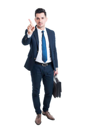 refusal: Broker or lawyer saying no with finger as refusal and denial gesture