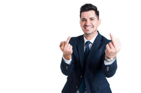 obscene: Smiling businessman showing double middle finger isolated on white background